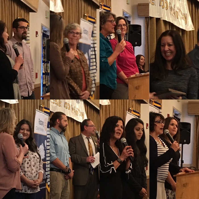 Teachers of the Year being announced by their administrator