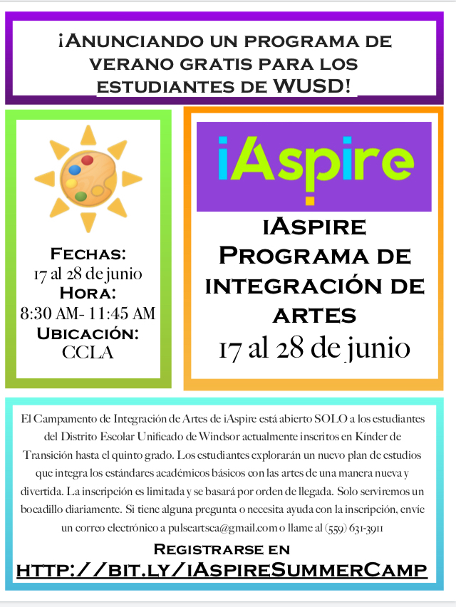Flier for iAPIRE Arts Integration Camp (in Spanish)