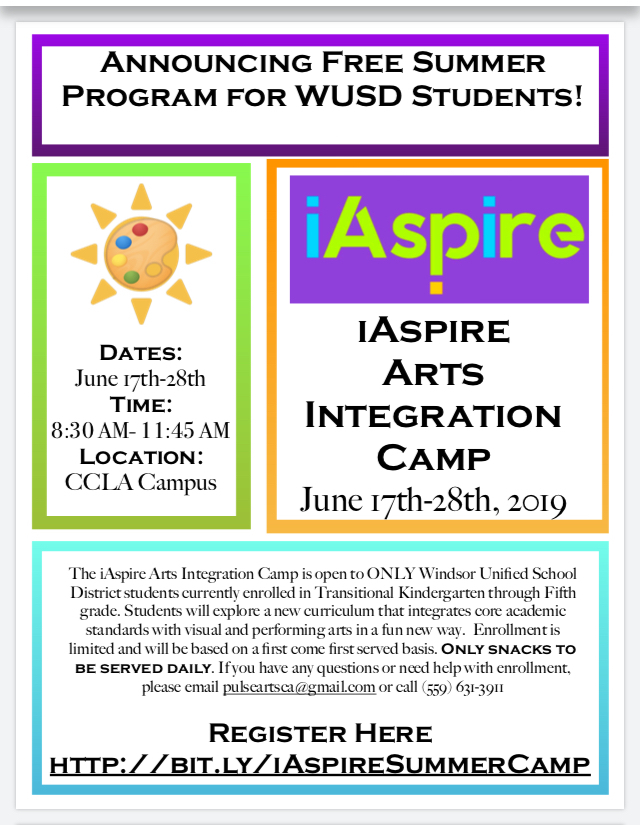 Flier for iASPIRE Summer Camp (in English)