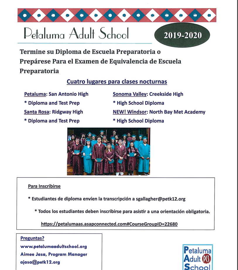 Diploma Completion Information in Spanish