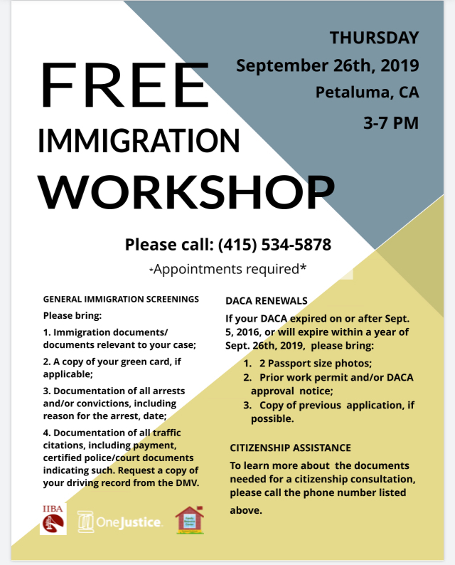 Advertisement for Free Immigration Workshop (English)