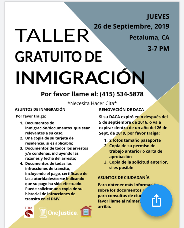 Advertisement Free Immigration Workshop (Spanish)
