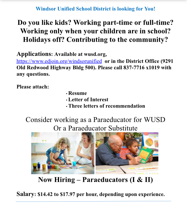 Advertisement for Paraeducator openings