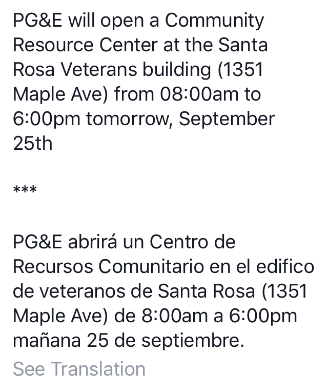 Announcement of PG& E Assistance Center