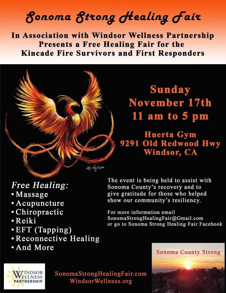 Flier for Sonoma Strong Healing Fair 11/17/19